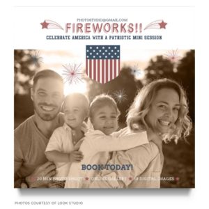 fireworks mini sessions marketing board